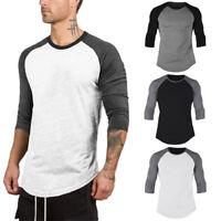 Mens Boy Raglan 3/4 Sleeve Baseball Plain Tee Sports Blouse T-Shirt Tops M-2XL