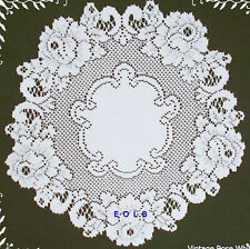 Vintage Rose Doilies 15 Inch Round  White Set Of (2) Heritage Lace
