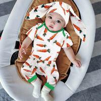 3-18Months Infant Baby Boys Girls Easter Carrot Romper+Pants+Rabbit Ears Hat Set