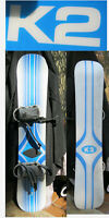 Snowboard K2 Brand Light Blue white 156 cm w Bindings in  San Diego
