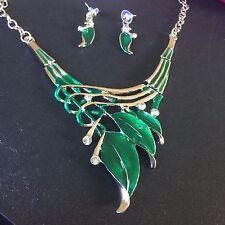 SET Green enamel +crystal white gold p matching bib necklace drop earring PlumUK