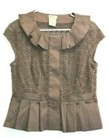 Elevenses Women's Size 8 Sleeveless Knit And Ruffles Blouse Shirt Top - Brown