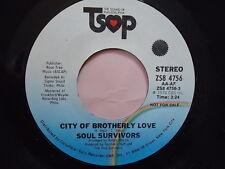 "SOUL SURVIVORS  DJ Promo ""CITY OF BROTHERLY LOVE""  45 RPM Vinyl  Record  music"