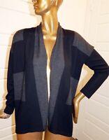 Eileen Fisher Gray Black Color Block 100% Wool Knit Cardigan Sweater sz S