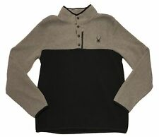 SPYDER Ski Pullover Polar Fleece 1/4 Button Ski Jacket Grey Black 71D64051-04 L