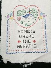 Vintage Hand Embroidered Sampler to Frame Home is Where the Heart Is Complete