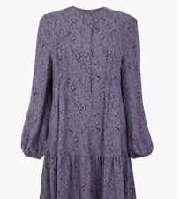 Marks And Spencer Ladies Floral Print Relaxed Mini Dress 20R Indigo Mix