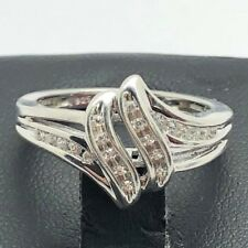 Elegant Sterling Silver 925 CZ Pave Swirl Wave Split Bail Cocktail Band Ring 7