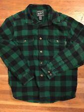 Woolrich Flannel Shirt Size L Mens Green Black Plaid 100 Percent COTTON