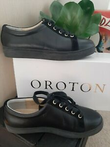 As New Oroton Black Leather Lace Up Sneaker Shoes Size 40 AU 9