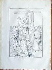 Stampa incisione 1850s-Deposizione Cristo da Croce da disegno Alberto Duro-CLXV