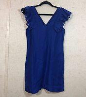 J.Crew Women's Size 2 Ruffle Shoulder Sheath Dress Lined Blue