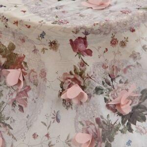 Lace Fabric Embroider 3D Flower Wedding Bridal Voile DIY Organza Chiffon Floral