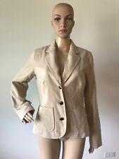 Isaac Mizrahi Beige Wool Blend Three Button Blazer Jacket Suit Coat Women's M