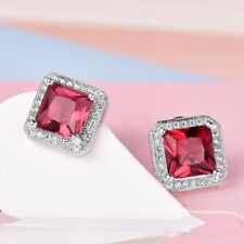 18ct/18k White Gold Filled Stud Earrings Made With Garnet & White Swarovski