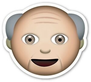 x2 10cm Shaped Vinyl Sticker laptop emoji old man rap pensioner aged elderly fun