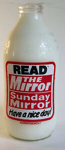 RETRO MILK BOTTLE UNIGATE 80s ADVERTISING - SUNDAY MIRROR - KITCHEN MEMORABILIA