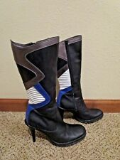 Casadei Lug sole high heel leather knee boots quilted blue sz 8 shoes silver