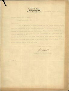 1917 Marion South Carolina (SC) Letter Albert F. Woods Attorney at Law