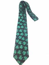 New Mens Neck Tie Dress Casual Fun Green Shamrock Clover Black Irish St. Patrick