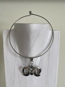 Vintage Taxco Mexico Rodolfo Espinoza Sterling Silver & Onyx Choker Necklace