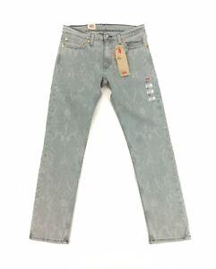 NEW Levi's Strauss 511 Slim Stretch Slate Gray Pattern Mens Denim Jeans Red Tab