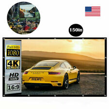 """150"""" Portable Projector Screen 16:9 HD Home Theater Outdoor Camping Cinema Movie"""