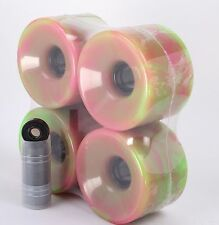 Longboard Wheels and Bearings 76mm Pink and Green Blend and Abec7 Black