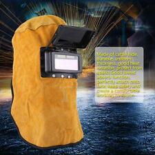 Leather Hood Welding Helmet Mask Auto Darkening Filter Lens Welder HighQ