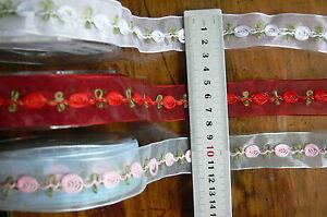 Organza Rosebud 2Mtrs Red, White, Blue & Pink 25mm 3Colour Choice Green Tara AR8