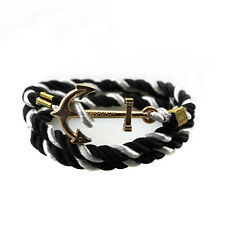 Rope Anchor Wristband Bracelet Handmade Multilayer Women Leather Men Bangle Gift