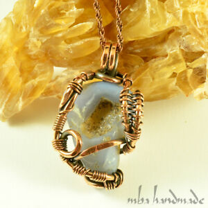 Blue Chalcedony Crystal Antiqued Copper Wire Wrapped Pendant Gemstone