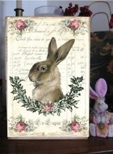 French Shabby Chic sign Bunny Rabbit Easter pink roses Victorian Hare