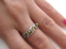 Bague anneau ambre véritable mer baltique argent 925 T. 56,58 BA21v