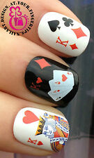NAIL ART WRAPS WATER TRANSFERS DECALS STICKERS SET CASINO PLAYING CARDS #157