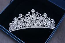 GORGEOUS SILVER CROWN/TIARA WITH CLEAR CRYSTALS, WEDDING, BRIDAL OR RACING
