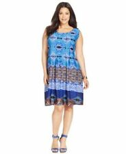 NY COLLECTION PLUS SIZE PRINTED SHIFT DRESS BLUE MULTI WOMENS 1X