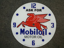"14.25"" MOBIL PEGASUS GASOLINE OIL GAS ROUND GLASS clock FACE FOR PAM"