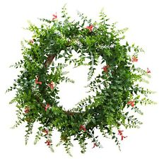 """Nearly Natural 4542 - 18"""" Floral & Fern Double Ring Wreath w/Twig Base - Red"""