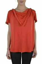 Just Cavalli Silk Coral Red Cowl Neck Women's Loose Blouse Top US S IT 40