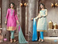 Set of 2 party wear embroidery salwar kameez suit unstitched dress material