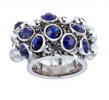 Swatch Bijoux Blue Crystal Stone Love Explosion Stainless Steel Ring Size 7 Uk O