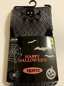 Happy Halloween Skull Black Womens Tights Size S/M Fishnet