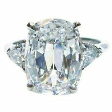 3.90 Ct Cushion Simulated Moissanite Engagement 3-Stone Ring 14K White Gold Over