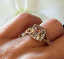 2.85Ct Cushion Cut Morganite Halo Engagement Ring 14K Rose Gold Finish