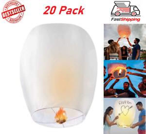 White Chinese Wishing Lanterns 20 Pack Paper Lanterns 100% Biodegradable