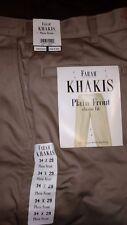Farah mens khaki pants Size 34 x 29 Plain front classic fit NWT Wrinkle free