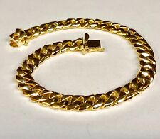 """10kt Solid Yellow Gold Handmade Curb Link Mens Chain/Bracelet 9"""" 40 Grms 8.5MM"""