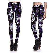 UK SUGAR CANDY SKULL LEGGINGS Gift Idea Yoga Clubbing Fitness Goth Gothic Purple