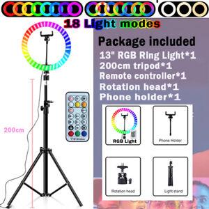 RGB 13'' LED Ring Light & 2M Stand for Youtube Tiktok Makeup Video Phone Selfie